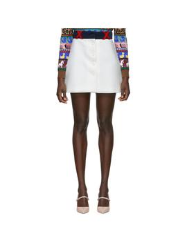 White Techno Button Miniskirt by Miu Miu