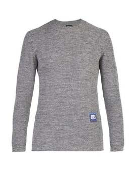 Logo Patch Micro Ribbed Wool Sweater by Balenciaga