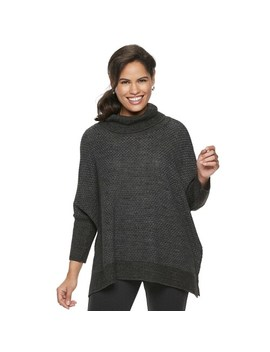 Women's Croft &Amp; Barrow® Textured Cowlneck Poncho Sweater by Croft &Amp; Barrow