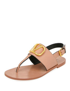 Vlogo Flat Leather Thong Sandals by Valentino Garavani
