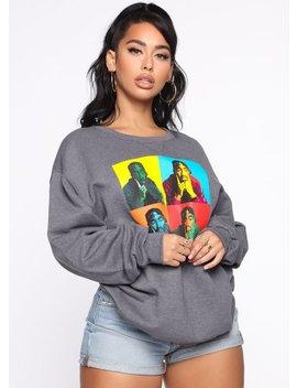 Poetic Justice Art Sweatshirt   Charcoal by Fashion Nova