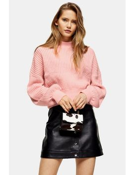 Pink Knitted Balloon Sleeve Sweater by Topshop