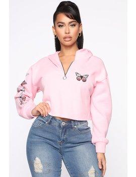 Float Like A Butterfly Hoodie   Pink by Fashion Nova