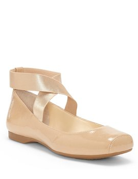 Mandalaye Crinkle Patent Square Toe Criss Cross Ankle Strap Ballet Flat by Jessica Simpson