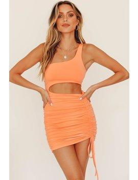 Own The Night One Shoulder Ruched Mini Dress // Tangerine by Vergegirl