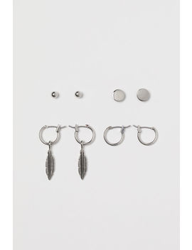 4 Pairs Metal Earrings by H&M