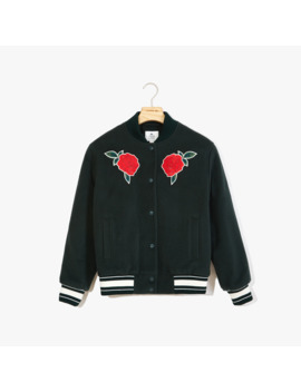 Women's Live Rose Embroidered Varsity Jacket by Lacoste