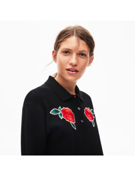 Women's Live Rose Embroidered Cropped Sweater by Lacoste