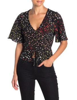 V Neck Flutter Sleeve Top by Love, Fire