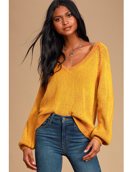 Cozy Commitment Mustard Yellow V Neck Knit Sweater by Lulu's