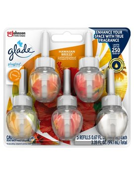 Glade Plug Ins Scented Oil Refill, Hawaiian Breeze, Essential Oil Infused Wall Plug In, 3.35 Fl Oz, 5 Ct by Glade