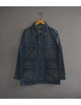 Oshkosh B'gosh Men Denim Jacket Size Medium / Vintage 80s 90s Western Style Casual Chore Workwear Faded Denim Jeans Work Jacket by Oshkosh  ×