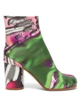 Tabi Flamingo Print Split Toe Leather Boots by Maison Margiela