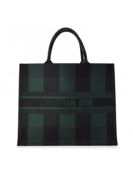 Christian Dior Embroidered Canvas Checkered Book Tote Black Green by Christian Dior