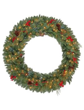 48 In. Pre Lit Artificial Winslow Fir Christmas Wreath With 436 Tips And 200 Clear Lights by Home Accents Holiday