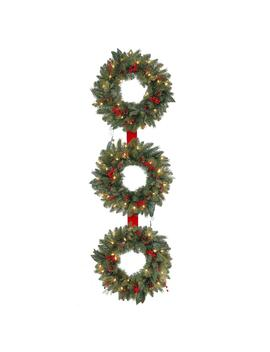 60 In. Tall Pre Lit Artificial Winslow Fir 3 Ring Wreath With 270 Tips And 75 Clear Lights by Home Accents Holiday