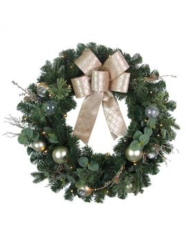 30 In. Pre Lit Led Champagne Eucalyptus Artificial Christmas Wreath by Home Accents Holiday