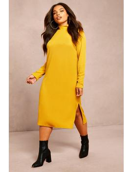 Recycled Roll Neck Rib Side Split Tunic by Boohoo