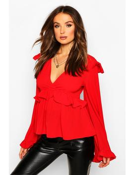 Frill Detail Smock Top by Boohoo
