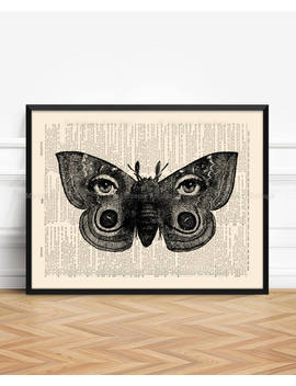 Surreal Moth Print Surreal Moth Art Surrealism Print Victorian Gothic Home Decor Spooky Home Decor Wall Weird Eye Anthropomorphic Art 080 by Etsy