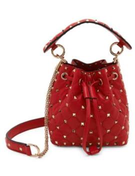 Valentino Garavani Rockstud Spike Mini Leather Bucket Bag by Valentino
