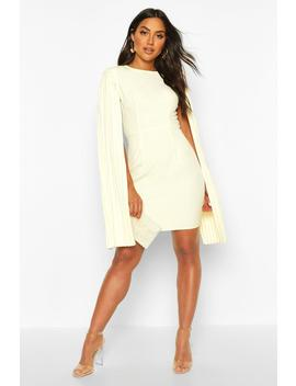 Pleated Cape Sleeve Mini Dress by Boohoo