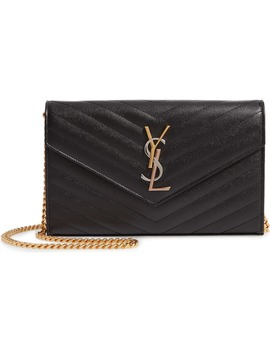 Monogram Pebbled Leather Wallet On A Chain by Saint Laurent