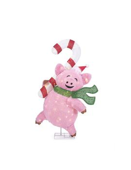 Toasty Tinsel 48 In. Christmas Warm White Led Pig With Candy Cane by Home Accents Holiday