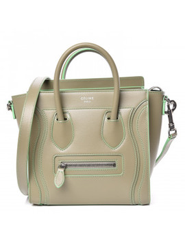 Celine Satin Debossed Calfskin Nano Luggage Light Khaki by Celine
