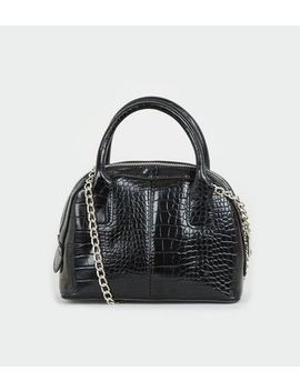 Black Faux Croc Chain Bowler Bag by New Look