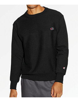 Champion Reverse Weave Small C Black Crew Neck Sweatshirt by Zumiez
