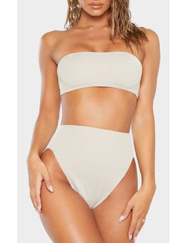 Taupe Crinkle High Waist Bikini Bottom by Prettylittlething