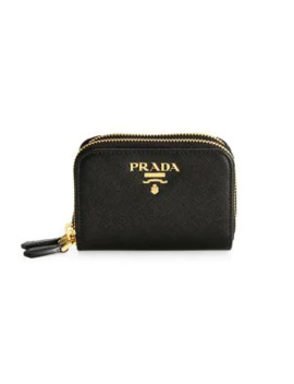 Double Zip Around Leather Coin Case by Prada