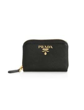 Saffiano Leather Zip Around Coin Case by Prada