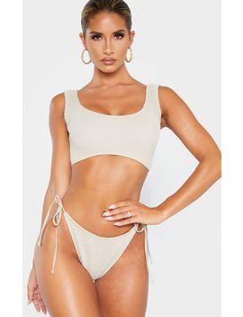 Taupe Crinkle Deep Scoop Bikini Top by Prettylittlething