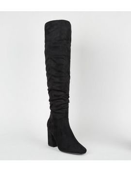 Black Suedette Knee High Heeled Boots by New Look