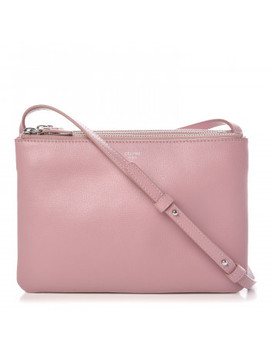 Celine Lambskin Small Trio Crossbody Bag Antique Rose by Celine