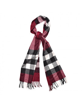 Burberry Cashmere Giant Check Fringe Scarf Claret by Burberry