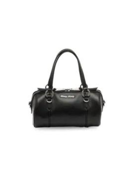 Small Leather Barrel Bag by Miu Miu