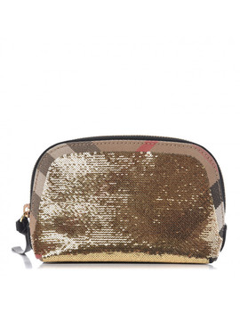 Burberry House Check Sequin Peyton Pouch Bag Gold Black by Burberry