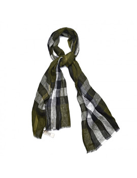 Burberry Linen Giant Exploded Check Scarf Olive Green by Burberry