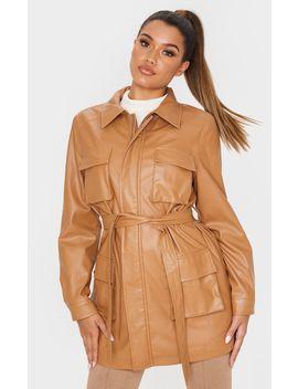 Camel Faux Leather Pocket Oversized Jacket  by Prettylittlething