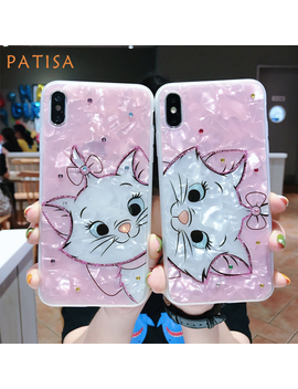 Cartoon Diamond Marie Cat Soft Silicone Phone Case For Iphone Xs Max Case Cute Pink Beautiful Cover For Iphone 6 6 S 7 8 Plus X by Ali Express.Com