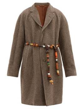 Brick Beaded Belt Single Breasted Wool Coat by Bode