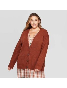 Women's Plus Size Long Sleeve V Neck Short Grandpa Cardigan   Universal Thread™ by Universal Thread