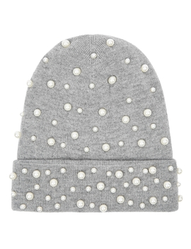 Grey Embellished Wool Blend Beanie by Thatsahat!