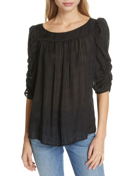 Kate Shirred Sheer Silk Top by Frame