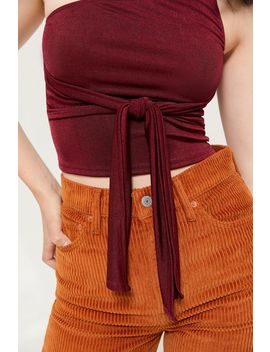 Uo Cleo One Shoulder Tie Front Top by Urban Outfitters