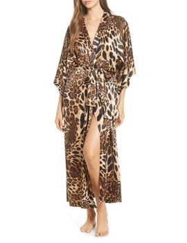 Leopard Print Long Satin Robe by Natori