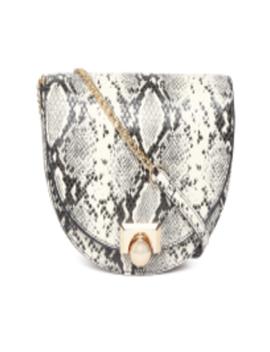 Black & Off White Snakeskin Textured Sling Bag by Mango